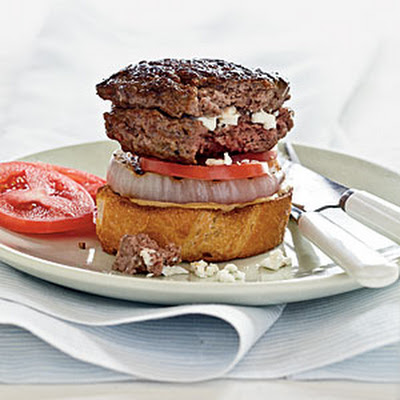 Feta-Stuffed Burgers with Grilled Onion on Sourdough