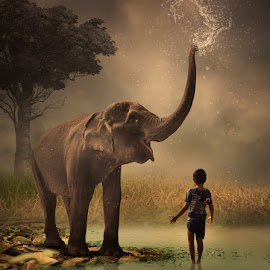 Shower by Alfa Oldicius - Digital Art Animals