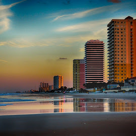 Daytona Beach by Danny Long - Novices Only Landscapes ( colorful, color, sunset, daytona beach, buildings, landscape )