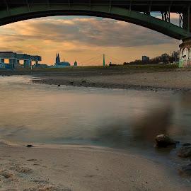 Cologne by Carlos Reyes - City,  Street & Park  Skylines ( water, rhein, sunset, bridge, köln )