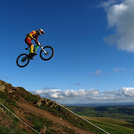 Flying without wings by Turnip Towers - Sports & Fitness Cycling ( cyclist, hill, downhill, cycling, mountain bike, jump )