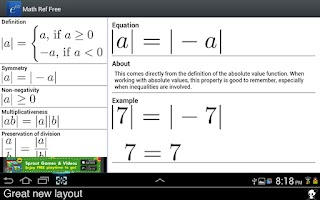 Screenshot of Math Ref Free