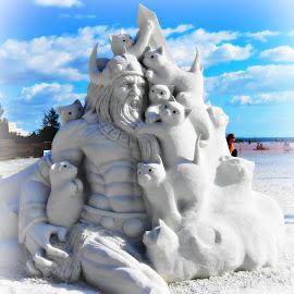 Sand Sculpture by Tatiana Chaput - Artistic Objects Other Objects ( cats, sculpture, sand, sand sculpture, florida, seista key beach, poseydon, beach,  )