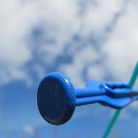 Blue  by Julie Kendall - Artistic Objects Other Objects ( ireland, cork, blue, negative space, washing line, cloud, peg )