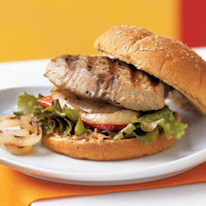 Grilled Tuna Sandwiches with Onions, Bell Peppers, and Chile-Cilantro Mayonnaise