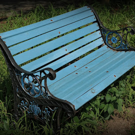 Blue Bench, Discovery Museum, Acton, MA by Lori Rider - Artistic Objects Furniture ( detail, wood, bench, scroll, metal, blue,  )