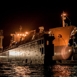 Drydock by Aaron Richards - Transportation Boats ( landscapes, cargo ship, boat, landscape, painting, drydock )
