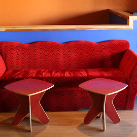 Red Sofa and Tables by Dan Dusek - Artistic Objects Furniture ( tables, sofa, display, colorfull, furniture,  )