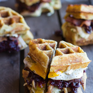 Mashed Potato Waffle, Crispy Turkey, Smashed Avocado, Cranberry and Brie Melts