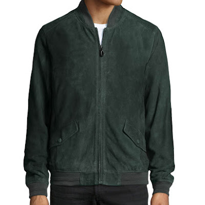 Robert Graham Suede Zip-Front Bomber Jacket, Dusk - (MEDIUM)