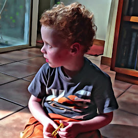One of my neighbor's twin boys by Michael Brunsfeld - Babies & Children Toddlers ( , blue, orange. color )
