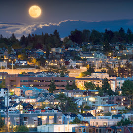 Seattle Supermoon by Nicole Young - City,  Street & Park  Vistas ( seattle, supermoon )