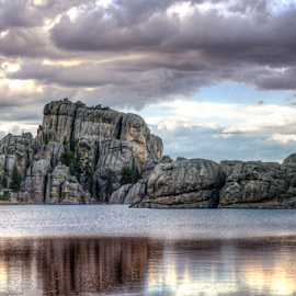 Custer State Park by Darren Small - City,  Street & Park  Skylines ( water, clouds, custer state park, hills, park, sylvan lake, cliff, state, lake, rocks, custer )