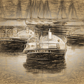 Chicago Police boats by Dennis Granzow - Digital Art Things ( lake michigan, illinois, police boats, chicago, drawing )