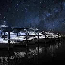 Mid-night Marina by Nathan Scott - Transportation Boats ( water, stars, boats, astrophotography, astronomy, dock )