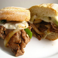 Crock Pot Italian Beef Philly Cheese Steak Garlic Bread Sandwich