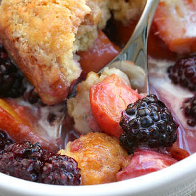 Blackberry-Peach Cobbler with Sour Cream Biscuits