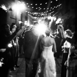 Awesome shot of the sparkler walk, such a cute idea!! Got a great shot of my coworkers flash coming through!!! by Julie Dabour - Wedding Reception ( awesome, brideandgroom, weddings, weddingideas, weddingphotography, sparklers, fireworks, sopretty, blackandwhite, photography, easton, pennsylvania, bankstannex )