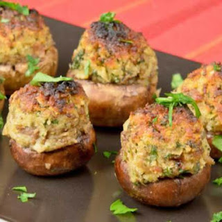 Spicy Sausage and Fresh Herb-Stuffed Crimini Mushrooms