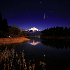Meteor by Nyoman Sundra - Landscapes Starscapes ( tanuki, fuji, lake )