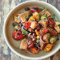 Bread Salad with Charred Tomatoes, Cucumber and Olives