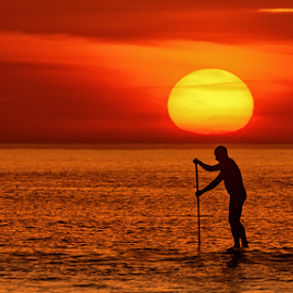 the men with the sun in his head by António Leão de Sousa - Landscapes Sunsets & Sunrises ( canon, water, padlle, padel, costa de caparica, sea, seascape, waterscapes, sun,  )