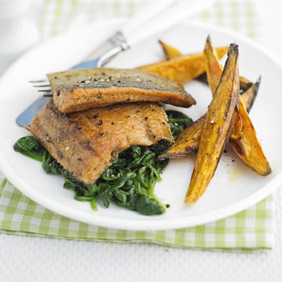Spiced Trout With Sweet Potato Chips