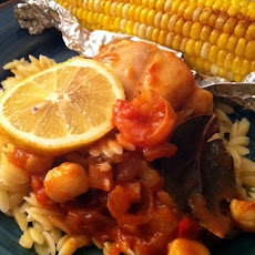 Seafood Creole Orzo Risotto With Elote Corn