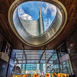 View of skyscraper by Andrea Conti - Buildings & Architecture Architectural Detail ( milan, interior, detail, exterio, tower, building, skyscraper, cirt, view, architecture, italy, unicredit )