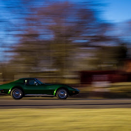 Life is a Highway by Nicole Nichols - Transportation Automobiles ( panning, drive, green, chevy, stingray,  )