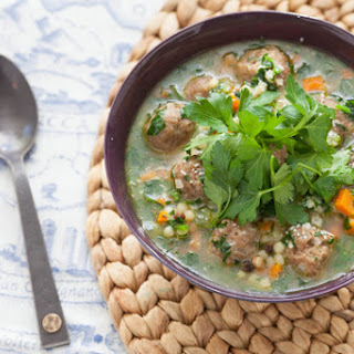 Italian Wedding Soup with Fregola Sarda & Spinach