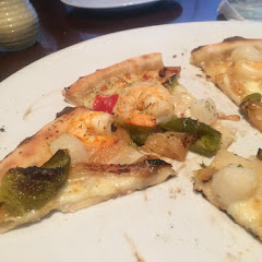 Shrimp and scallop pizza.  Most elastic crust I have ever had for GF!