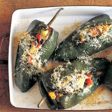 Poblano Chilies Stuffed with Black Beans and Summer Squash