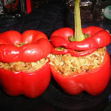 Stuffed Capsicums or Red Bell Peppers