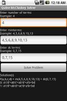 Screenshot of Quine-McCluskey Solver