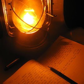 The Friend by Pranjal Jain - Artistic Objects Other Objects ( pen, lantern, dark, book, light,  )