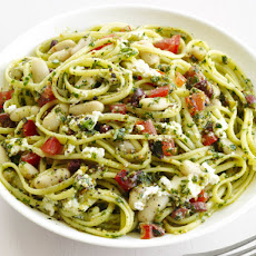 Linguine With Almond Pesto and Beans