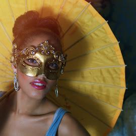 Girl with Mask by Monika Schaible - People Fashion ( yellow umbrella, monika schaible, mask )