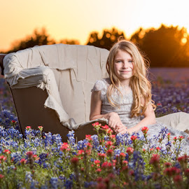Texas beauty by Deborah Chetwood - Babies & Children Child Portraits ( wildflowers, girl, sunset, texas, bluebonnet )