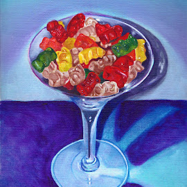 Gummy Bear Martini by Veronica Blazewicz - Painting All Painting ( gummy bears, colorful, candy, food, martini, drink, art, cocktail, original, painting, artwork, gummy )