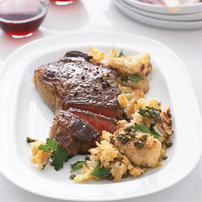 Steak with Cauliflower and Crispy Bread Crumbs