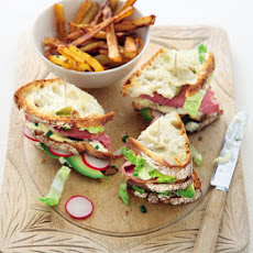 Salt beef club with Cajun fries