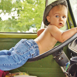 Driving Dad's bus  by Shelly Barlow - Babies & Children Toddlers ( cars, toddler, volkswagen, hat )