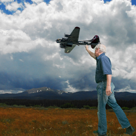 Fly that plane by D Clark  / B  Worthington - Digital Art Things ( clouds, toy, plane, fly, fun, composite,  )