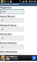 Screenshot of Spartan Wars Cave Calculator