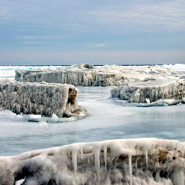 Ice Cubes by Julie Schilling Franco - Landscapes Beaches ( ice, shoreline, lake, beach )