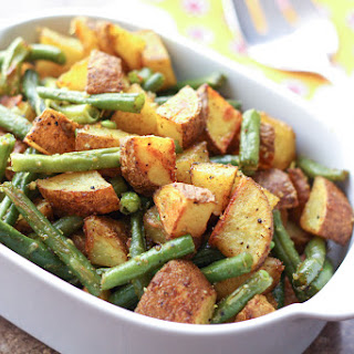 Turmeric Roasted Potatoes with Green Beans