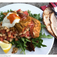 Indian Salmon Salad With Spiced Beans, Flat Breads, Mango Chutney And Yoghurt