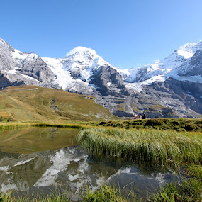 Eiger, Monch, Jungfrau by Jason Kiefer - Landscapes Mountains & Hills