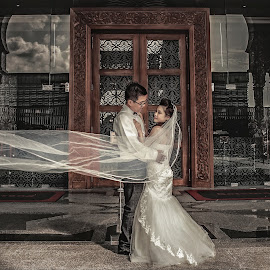 Precious Moment  by Xiiao Hua - Wedding Bride & Groom ( canon, face, hdr, putra jaya, photoshooting, 5d mark ii, hdri, epic, veils, wedding, gown, grey, brown, vest )